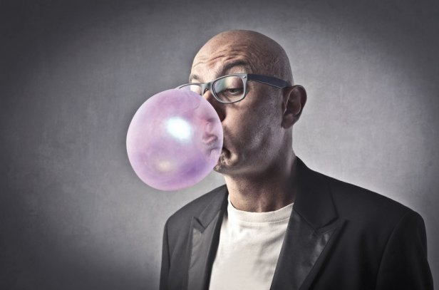 man with bubble gum